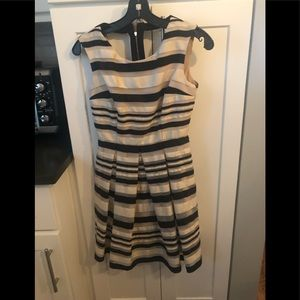 ABS by Allen Schwartz black white stripe dress